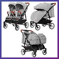 Детская универсальная коляска для двойни CARRELLO Connect CRL-5502/1 серый Коляска для двоих детей