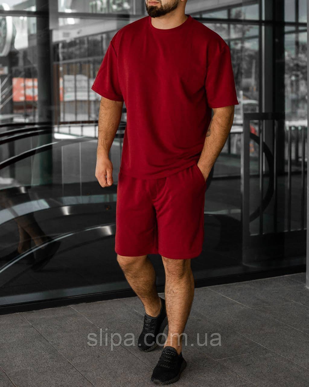 Червоний літній чоловічий комплект Basic Oversize   футболка оверсайз + шорти