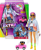 Barbie Extra Doll #5 in Long-Fringe Denim Jacket with Pet Puppy Кукла Барби Экстра радужные косички Барбі