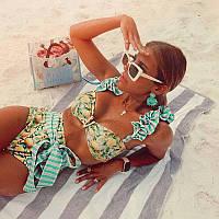 Женский пляжный купальник с трендовым лимонным принтом бифлекс качество люкс (BB-231)