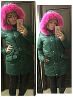 Женская куртка парка с розовым мехом