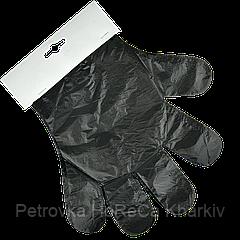 Перчатки полиэтиленовые отрывные (черные) 100шт