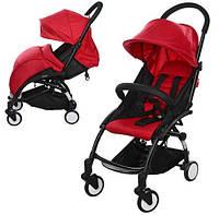 Легкая прогулочная коляска для ребенка с чехлом для ножек EL CAMINO YOGA M 3548-3 RED, цвет Красный