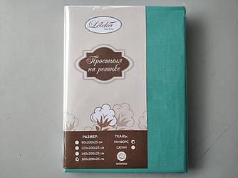 Простынь ранфорс на резинке 160х200+25см  Мятный Лелека Текстиль