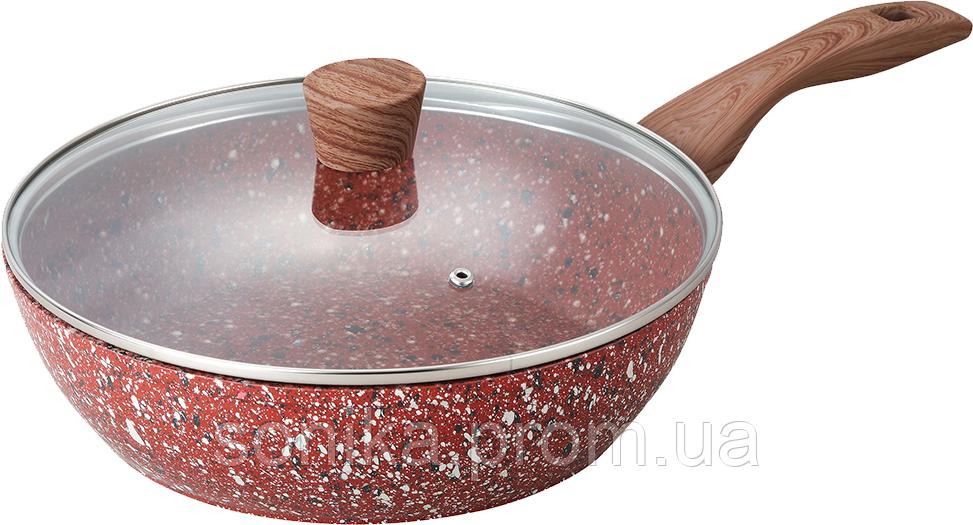 Сковорідка з кришкою та гранітним покриття Maxmark Granite 28 см MK-FP5028G
