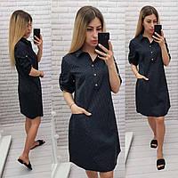 Платье-рубашка коттон  арт. 831 цвет черный в белый горох