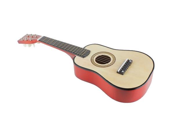 Игрушечная гитара с медиатором M 1369 деревянная  (Натуральный)