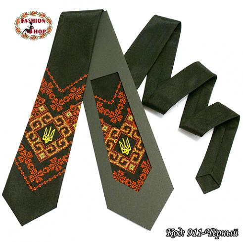 Вышитый чёрный галстук с трезубцем Всеслав