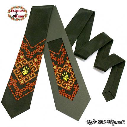 Вышитый чёрный галстук с трезубцем Всеслав, фото 2