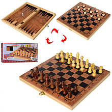 Деревянніе шахматы с шашками и нардами S3029, 3в1
