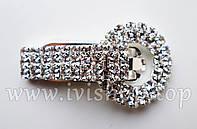 Шубный крючок-застежка 5,0 см, под серебро. круглая, со стразами