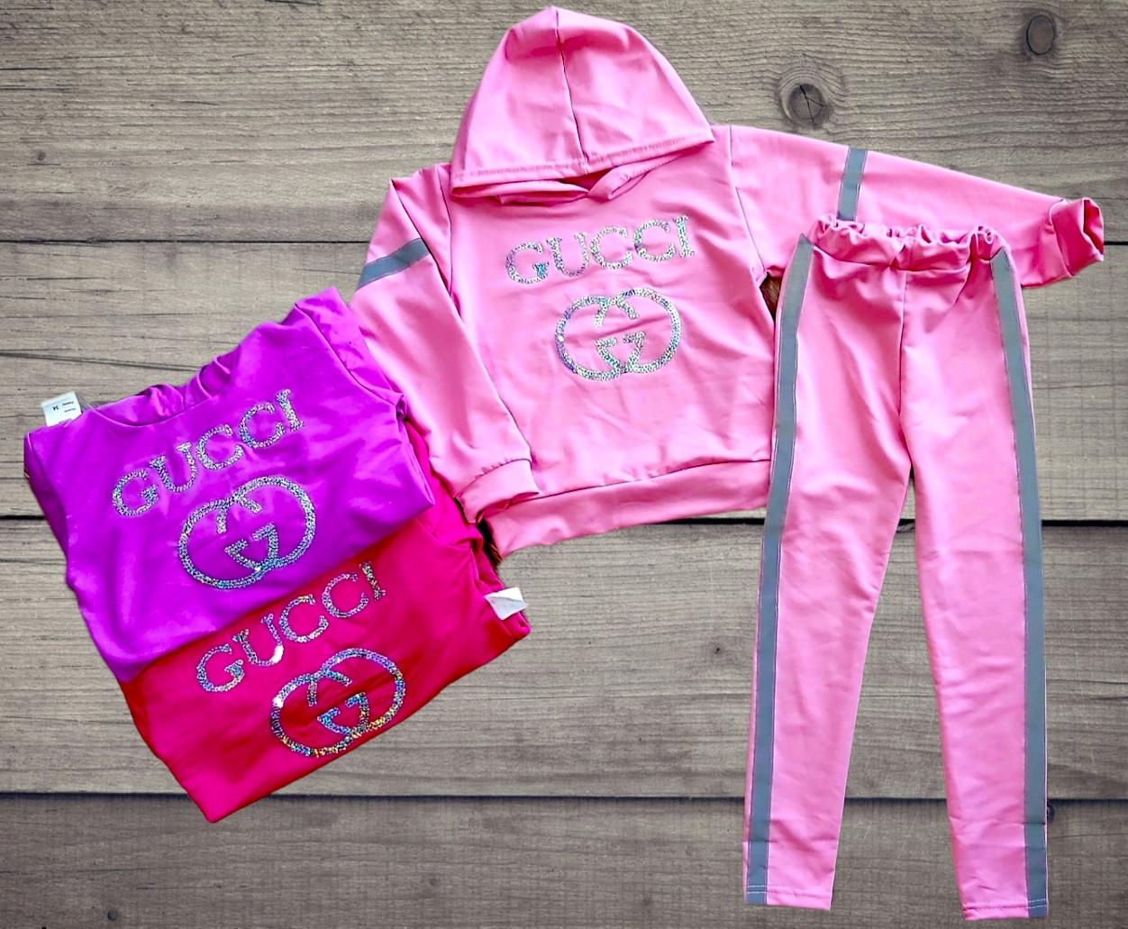"""Дитячий костюм-кофта з капюшоном і лосини """"Gucci"""" зі світловідбивачами"""