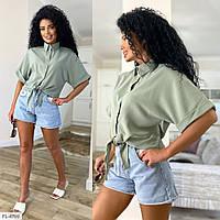 Блузка женская молодежная укороченная завязывается снизу р-ры 42-44,44-46 арт 103