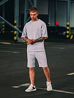 Мужской стильный летний оверсайз комплект шорты+футболка серый