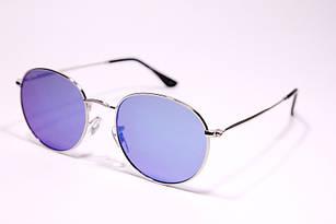 Солнцезащитные очки в стиле Ray Ban Round с синей линзой, круглые очки зеркальные