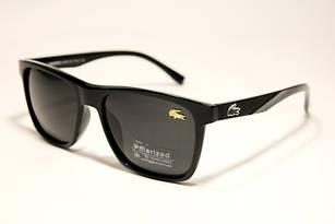 Солнцезащитные очки Lacoste черные глянцевые с поляризацией (реплика)