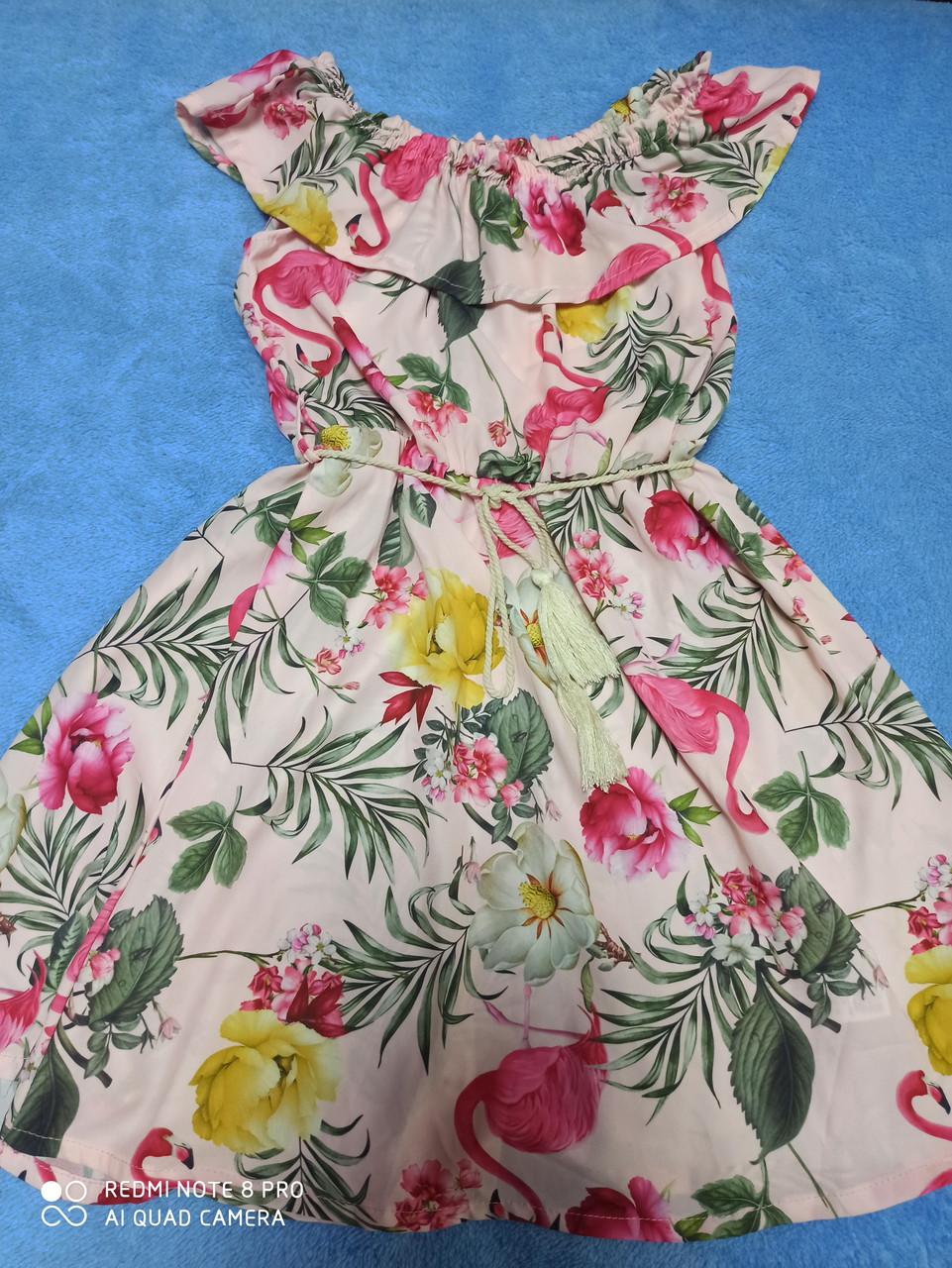 Платье подростковое летнее лёгкое нарядное модное красивое оригинальное с поясом. Размеры 128.140.146 рост.