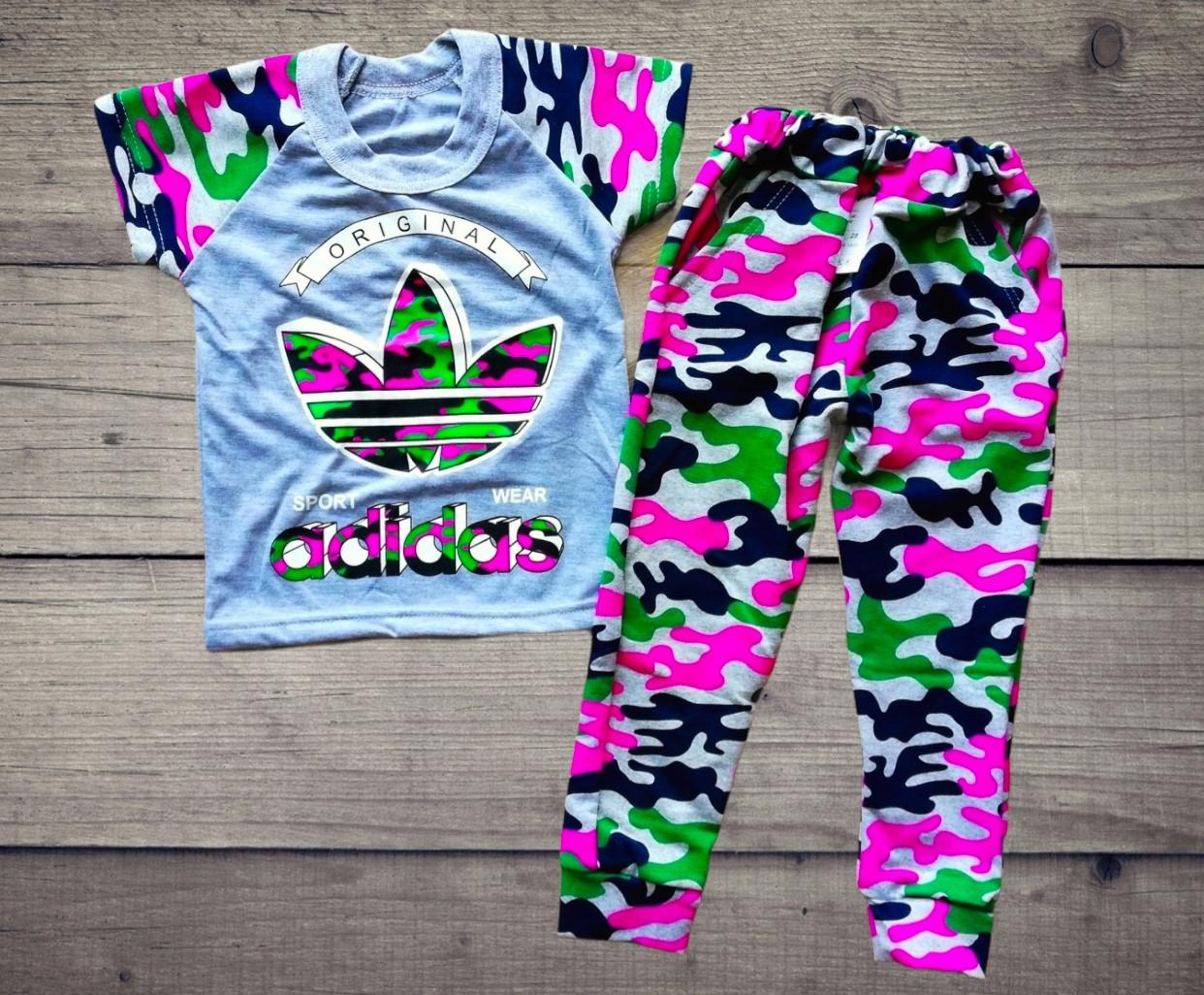 Детский костюм футболка и штаны спортивные Адидас камуфляж размеры 28