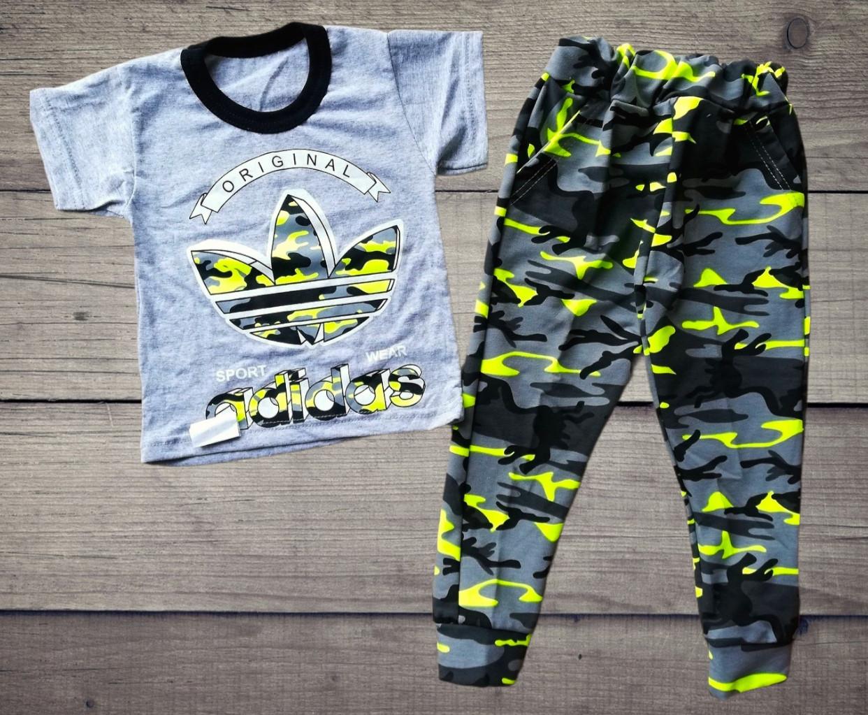 Дитячий костюм футболка і штани спортивні Адідас камуфляж і Найк