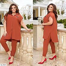 Костюм со свободной рубашкой и брюками из легкой жатки, №332, кирпичный, с 44 по 58р.