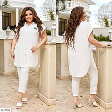 Костюм со свободной рубашкой и брюками из легкой жатки, №332, белый, с 44 по 58р.