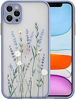 Силиконовый ударопрочный чехол для iPhone 12 Pro с цветочным принтом Lavender (8CASE)