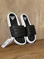 Мужские шлепанцы Adidas Adilette Черные Кожаные, Реплика Люкс, фото 1
