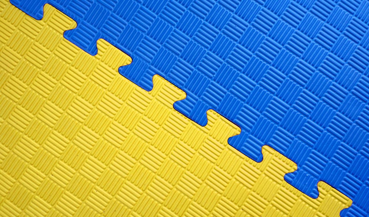 Мат татами 100*100*2.6 см Eva-Line Extra Quality синий/серый/желтый Плетёнка 100 кг/м3 (будо-мат, даянг)