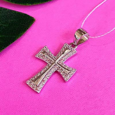Серебряный крестик с цирконием - Женский крестик без распятия серебро