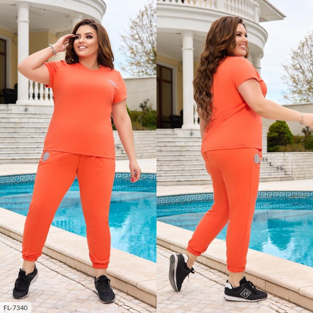 Костюм двійка, футболка і штани з светоотражающимся логотипом, №338, помаранчевий, з 44 по 58р.