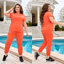 Костюм двойка, футболка и штаны со светоотражающимся логотипом, №338, оранжевый, с 44 по 58р.
