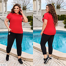 Костюм двойка, футболка и штаны со светоотражающимся логотипом, №338, черный/красный, с 44 по 58р.