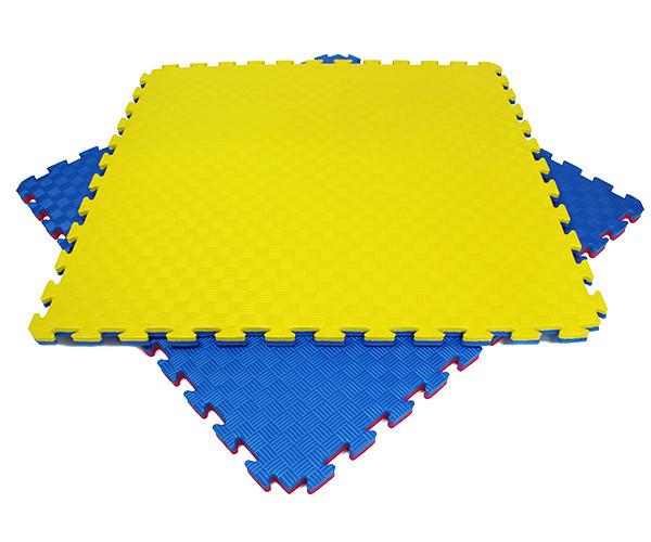 Мат татами 100*100*2,6 см Eva-Line синий/серый/жёлтый Плетёнка 100 кг/м3 - будо-мат, даянг, джудо