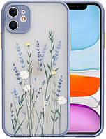 Силиконовый ударопрочный чехол для iPhone 12 Mini с цветочным принтом Lavender (8CASE)