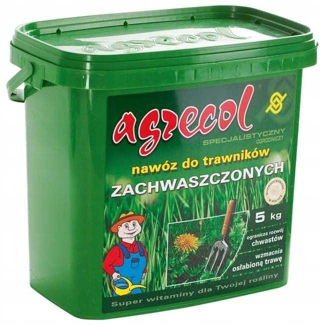 Добриво для газонів від бур'янів NPK (15,5-0-0) 5 кг, Весна-Літо-Осінь, Agrecol, Польща