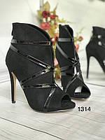 Жіночі чобітки чорні,літні ,відкритий носик