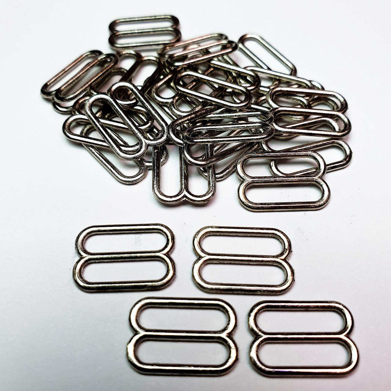 Перетяжка для бюстгальтера, для бретелей, регулятори 15 мм метал чорний нікель (20 шт/уп).