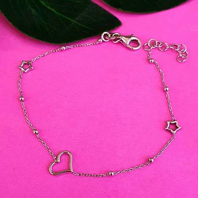 Срібний браслет Серце - Жіночий срібний браслет з сердечком