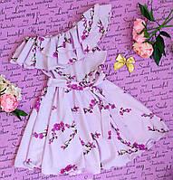 Подростковое платье с оборкой на одно плечо Валенсия р 128-152 сиреневый