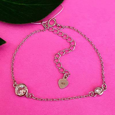 Срібний браслетик з фіанітами - Тонкий жіночий браслет срібний