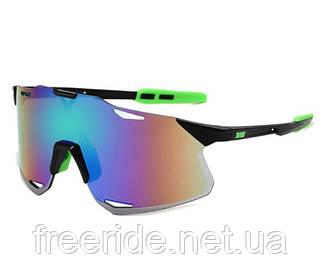 Сонцезахисні спортивні велоокуляри XSY чорно-зелені