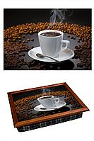 "Поднос на подушке ""Кофе, зерно, стекло"", фото 1"