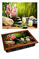 """Поднос на подушке """"СПА - орхидея, свечи, камни"""", фото 1"""