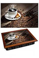 "Поднос на подушке ""Кофе, корица, зерно, стол"", фото 1"