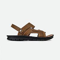 Мужские кожаные босоножки-шлепанцы, сандалии-шлепанцы светло-коричневые Fashion 21207