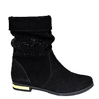 Ботинки женские зимние, натуральный замш, камни, фото 1