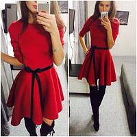 Платье с юбкой клеш +пояс