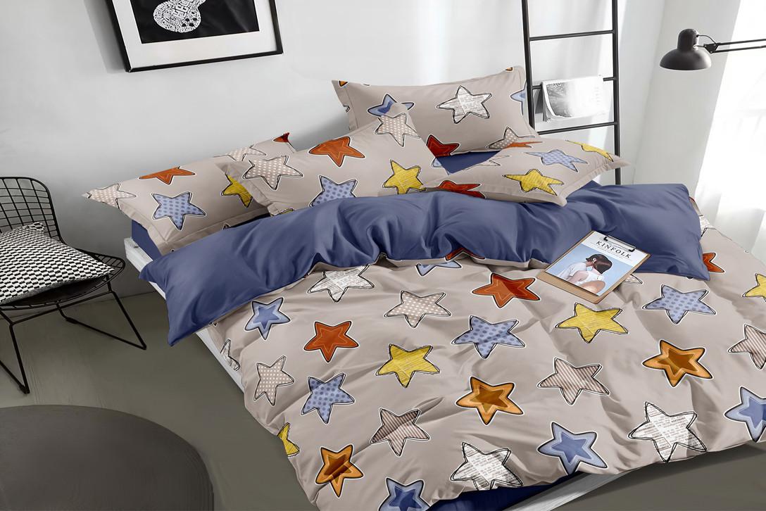 """Комплект постельного белья серый в размерах """"Игривые звезды"""" из сатина"""