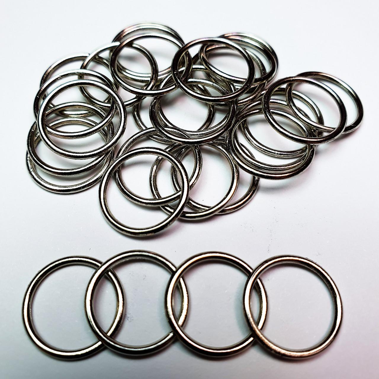 Кольцо для бюстгальтера, для бретелей, регуляторы 15мм металл серебристый никель (20 шт/уп).
