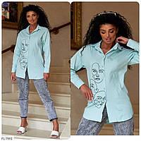 Рубашка женская молодежная из коттона с модным принтом р-ры 44,46,48 арт 321